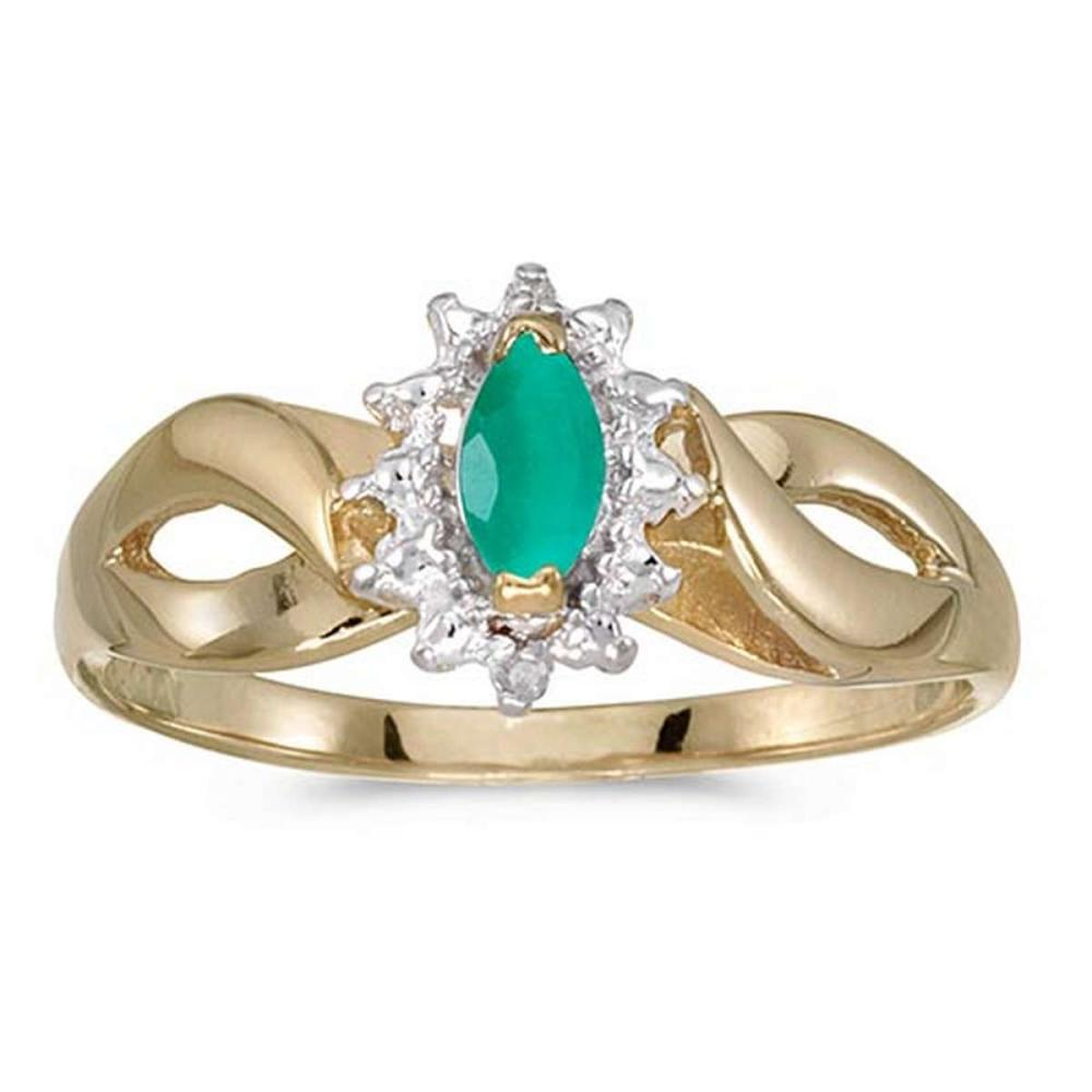 Certified 10k Yellow Gold Marquise Emerald And Diamond Ring #PAPPS50604
