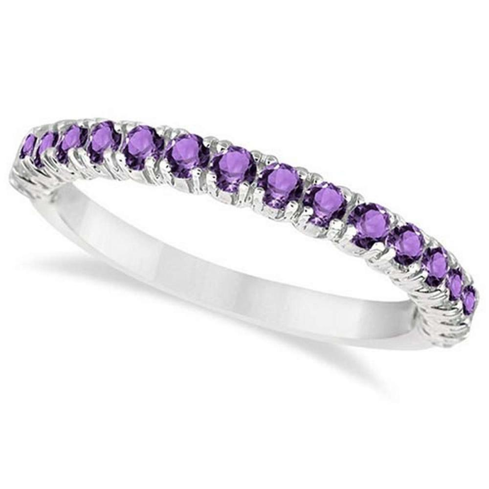 Half-Eternity Pave-Set Amethyst Stacking Ring 14k White Gold (0.95ct) #PAPPS65941