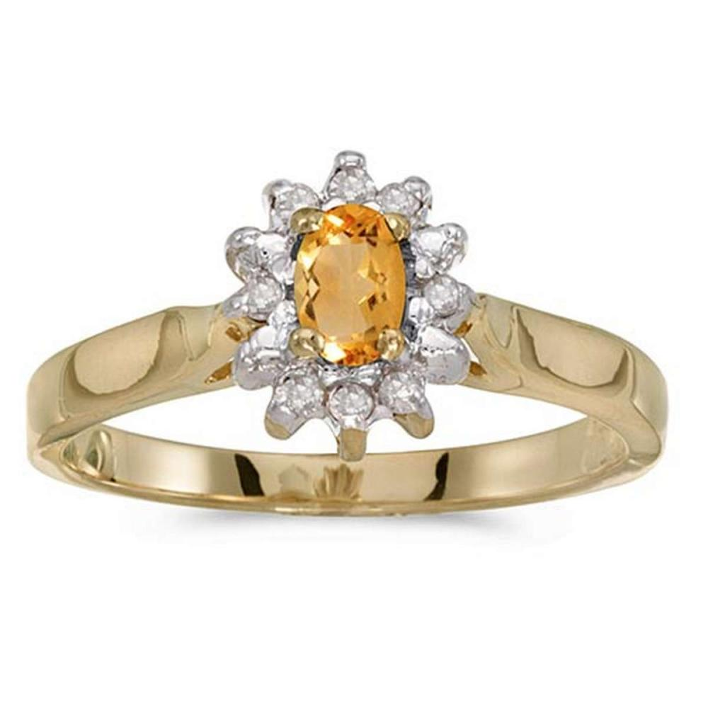 Certified 10k Yellow Gold Oval Citrine And Diamond Ring #PAPPS50614