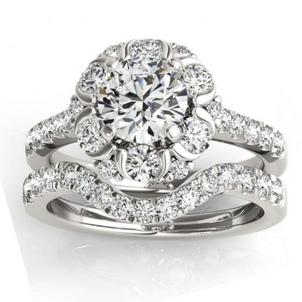 Flower Halo Diamond Bridal Set 14k White Gold 1.91ct  #PAPPS21067