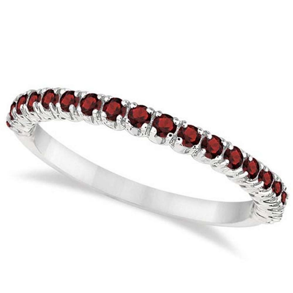 Half-Eternity Pave-Set Thin Garnet Stacking Ring 14k White Gold (0.65ct) #PAPPS65931
