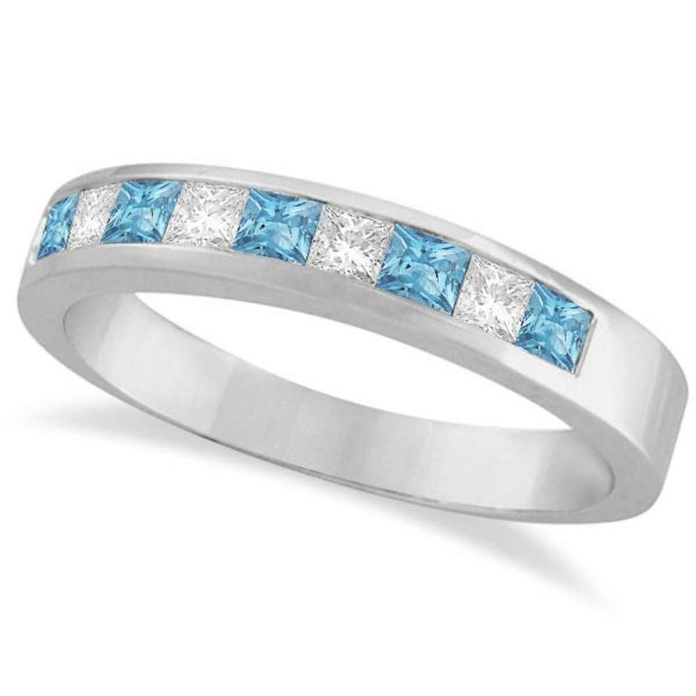 Princess Channel-Set Diamond and Aquamarine Ring Band 14K White Gold #PAPPS20774