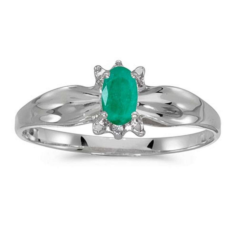 Certified 14k White Gold Oval Emerald And Diamond Ring #PAPPS50602