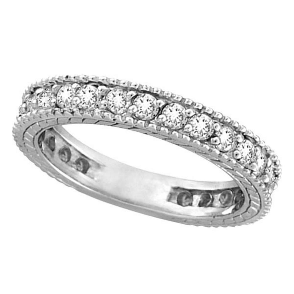 Diamond Eternity Milgrain Edged Ring Band 14k White Gold (1.00ct) #PAPPS51617