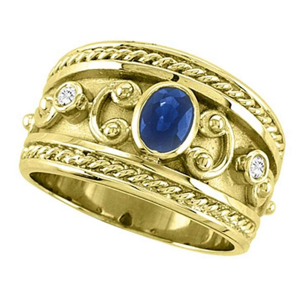 Oval Blue Sapphire and Diamond Byzantine Ring 14k Yellow Gold (0.73ct) #PAPPS51535