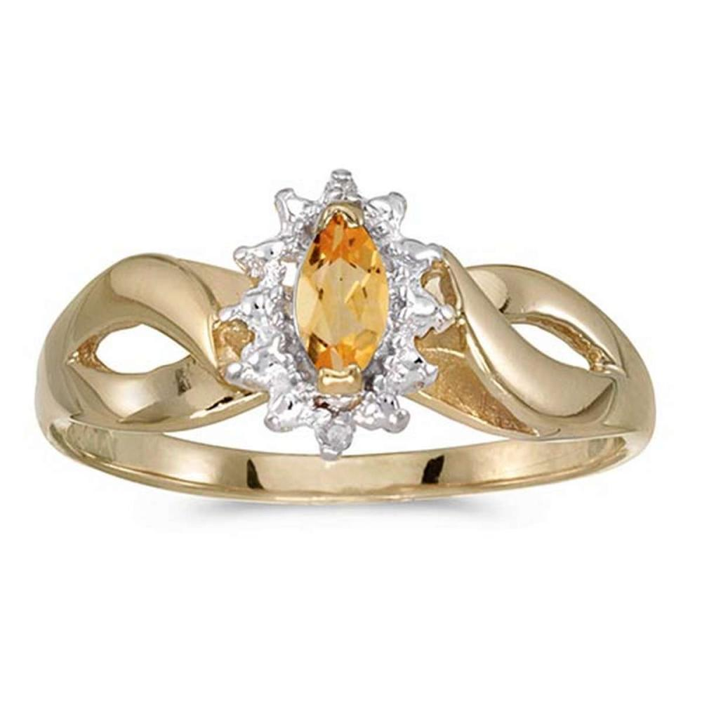 Certified 10k Yellow Gold Marquise Citrine And Diamond Ring #PAPPS50572