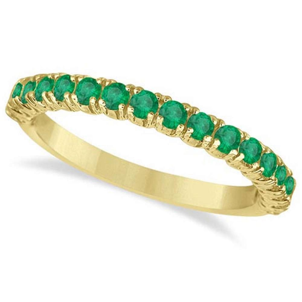 Half-Eternity Pave-set Emerald Stacking Ring 14k Yellow Gold (0.95ct) #PAPPS65955
