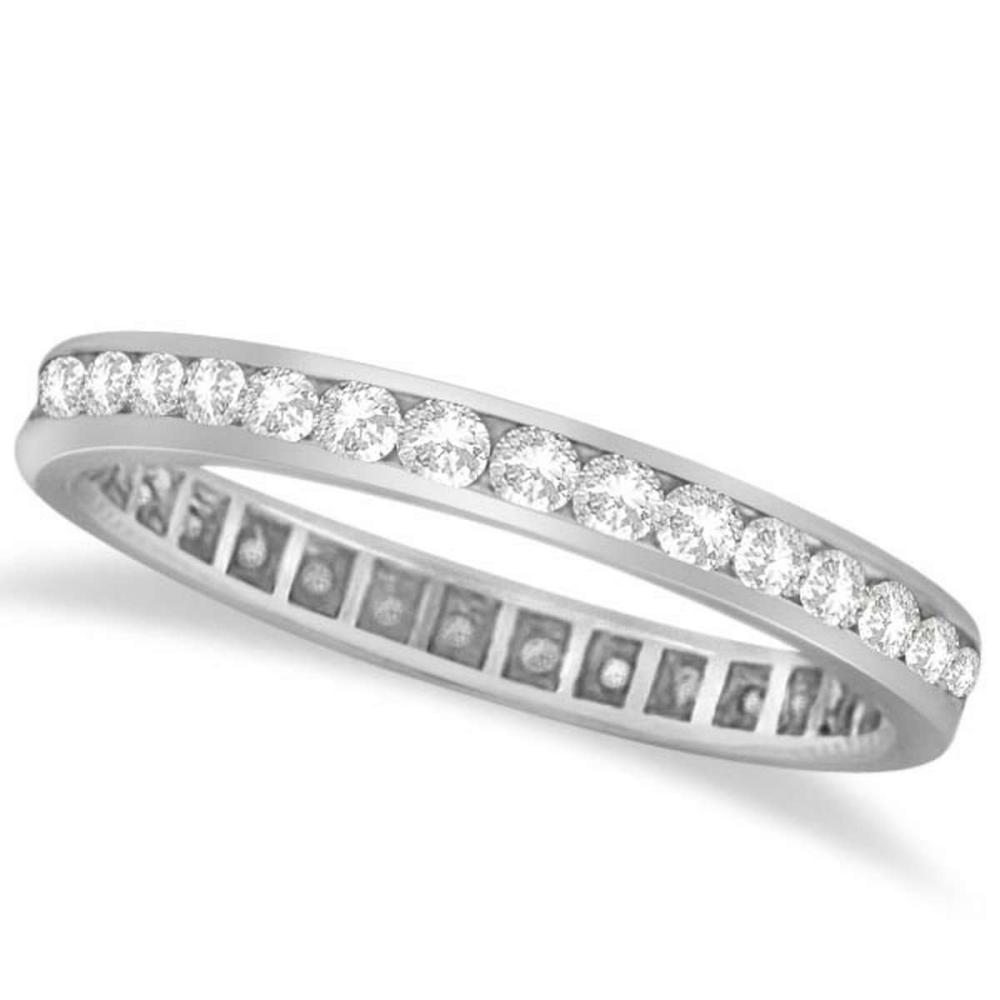 Channel Set Diamond Eternity Ring Band 14k White Gold (1.00 ct) #PAPPS51936
