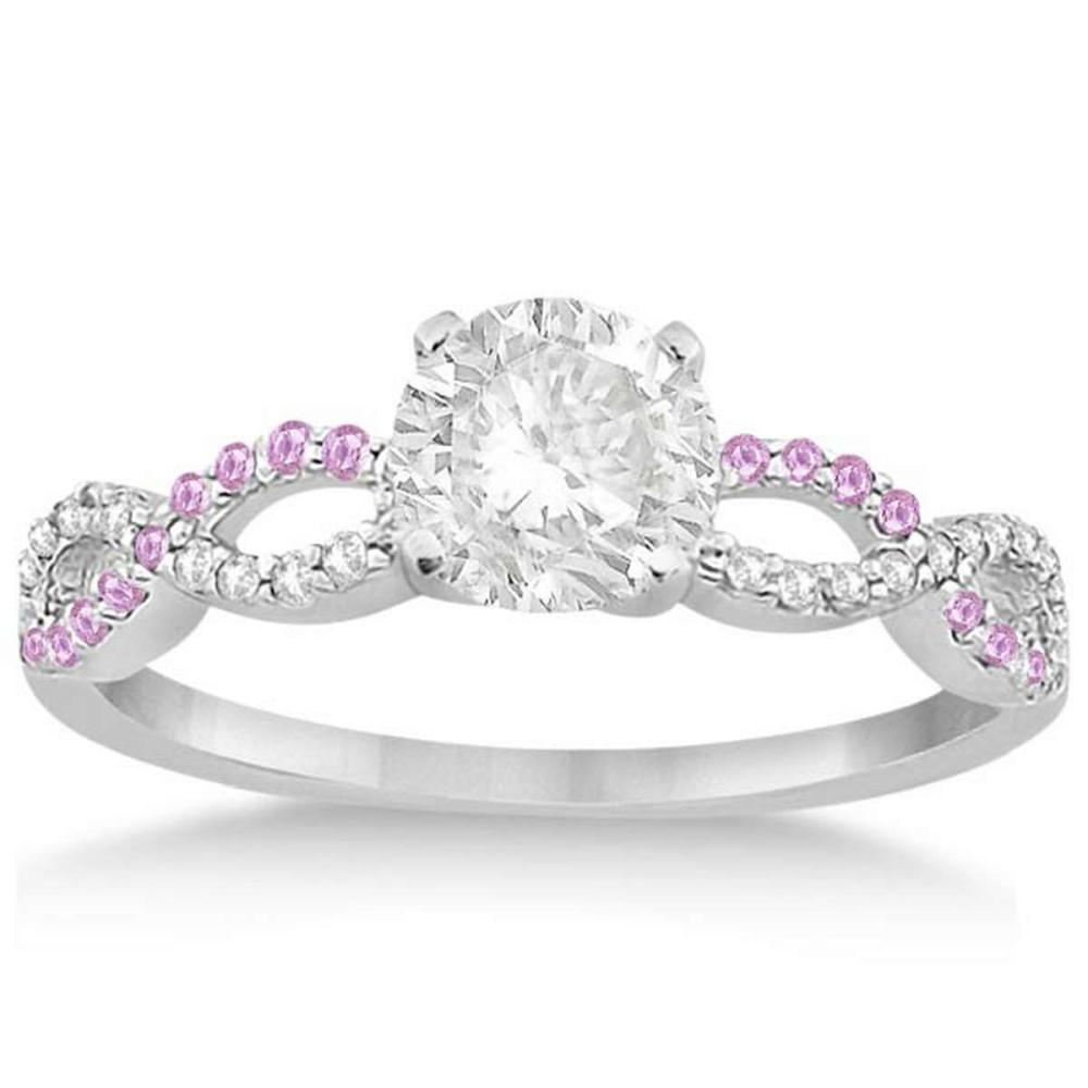 Infinity Diamond and Pink Sapphire Engagement Ring 14K White Gold 1.21ct #PAPPS21062