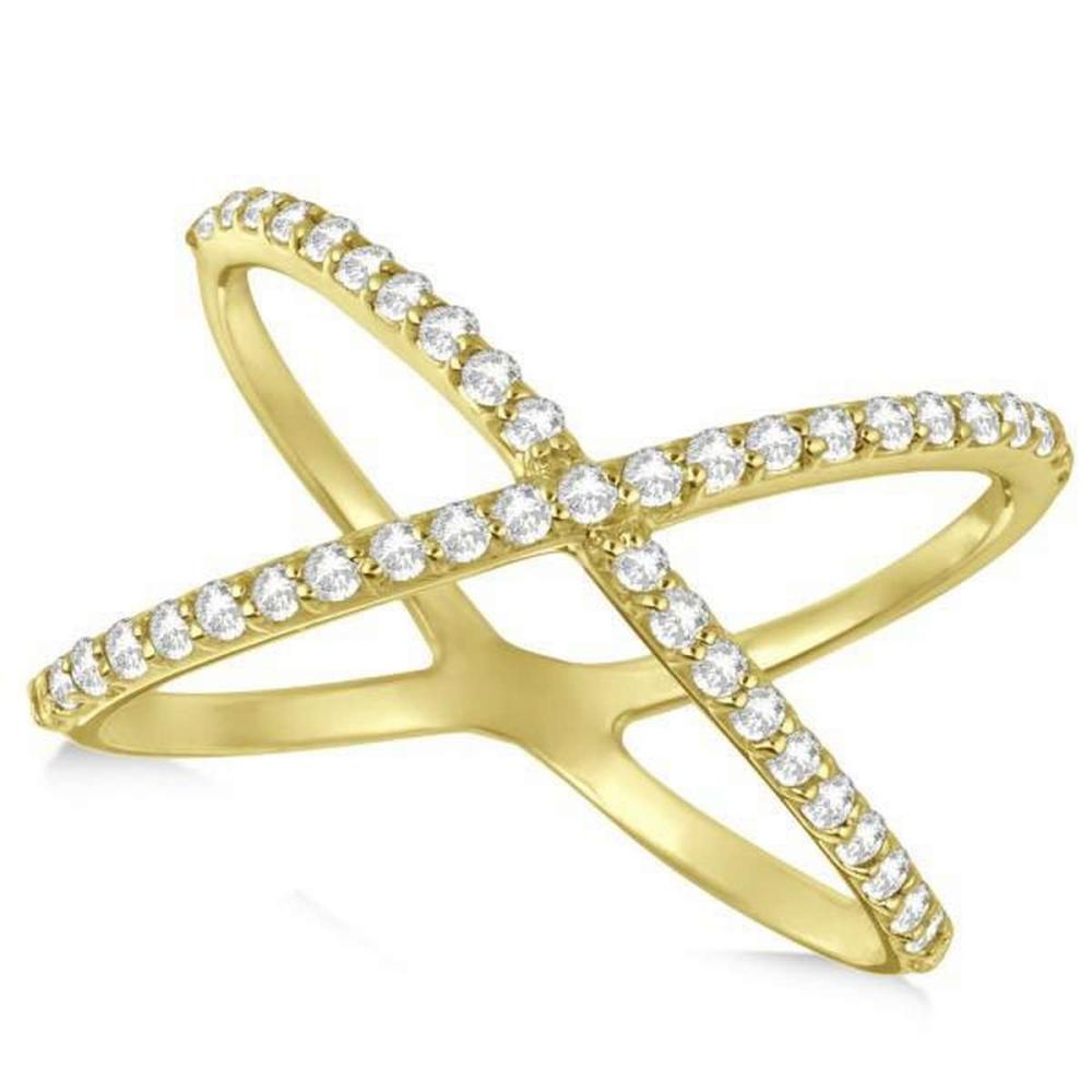 X Shaped Ring with Diamonds Abstract Design 14k Yellow Gold 0.50ct #PAPPS21050