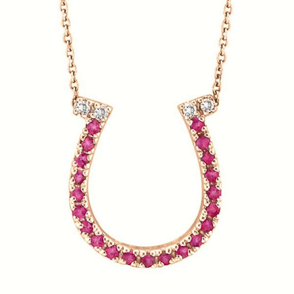 Pink Sapphire and Diamond Horseshoe Pendant 14k Rose Gold (0.25ct) #PAPPS51955