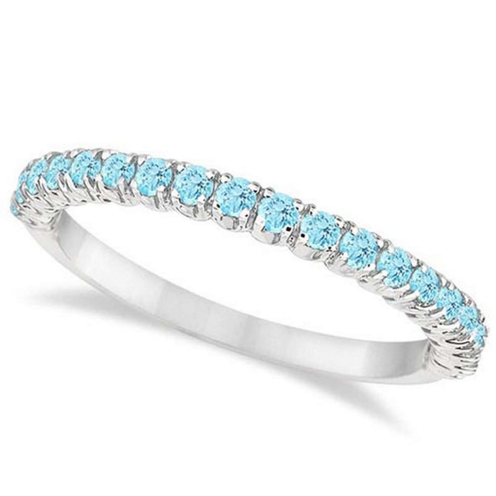 Half-Eternity Pave-Set Thin Aquamarine Stacking Ring Palladium (0.65ct) #PAPPS65947