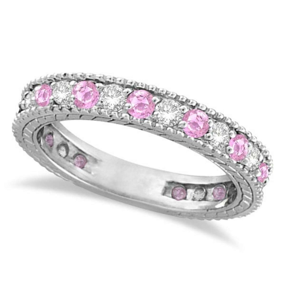 Diamond and Pink Sapphire Ring Anniversary Band 14k White Gold (1.08ct) #PAPPS51620