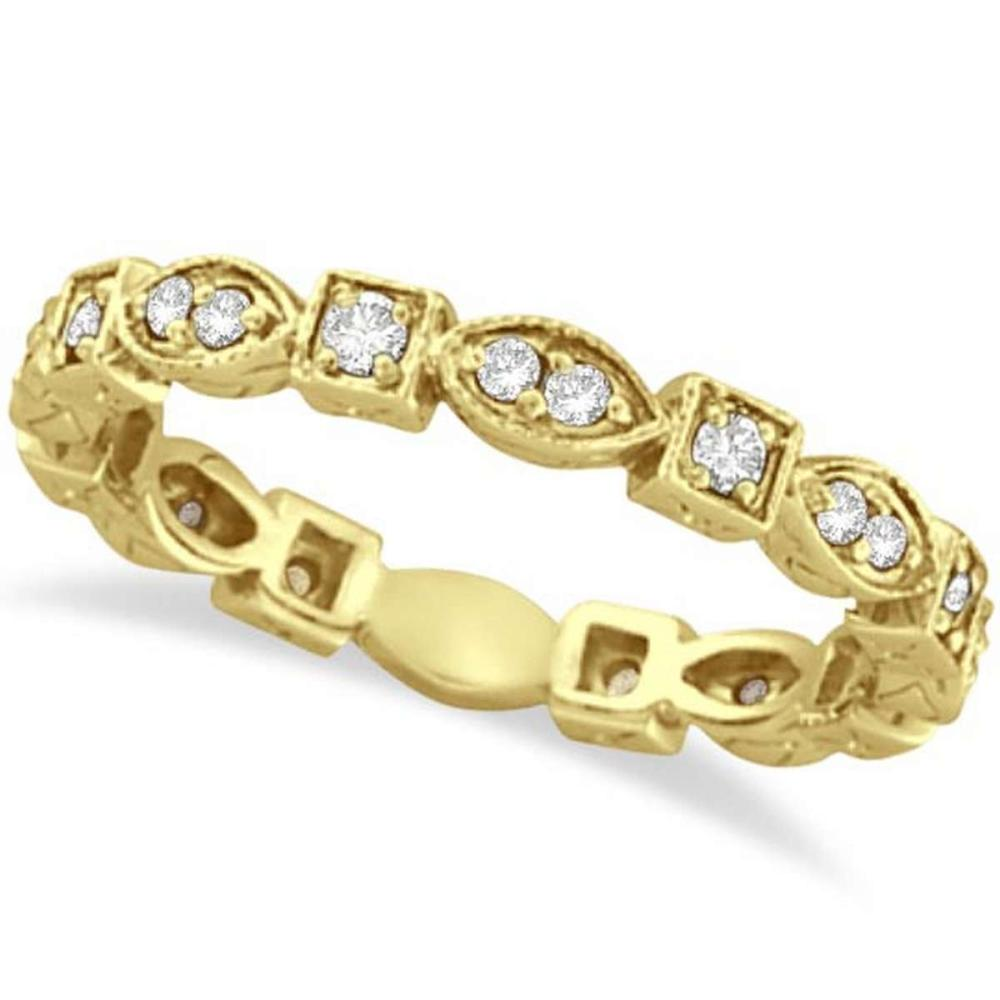 Antique Style Diamond Eternity Ring Band in 14k Yellow Gold (0.36ct) #PAPPS21144