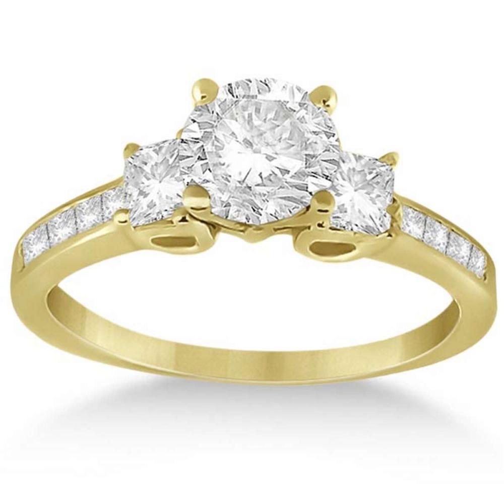 Three-Stone Princess Cut Diamond Engagement Ring 18k Yellow Gold (1.14 ct) #PAPPS51719
