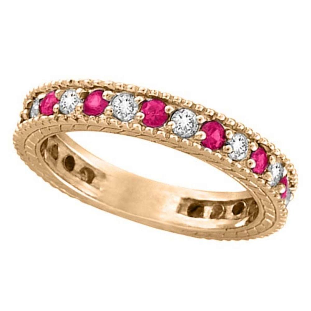 Diamond and Pink Sapphire Ring Anniversary Band 14k Rose Gold (1.08ct) #PAPPS51944
