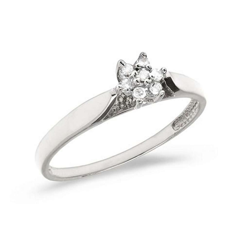 Certified 10K White Gold Diamond Cluster Ring #PAPPS50551