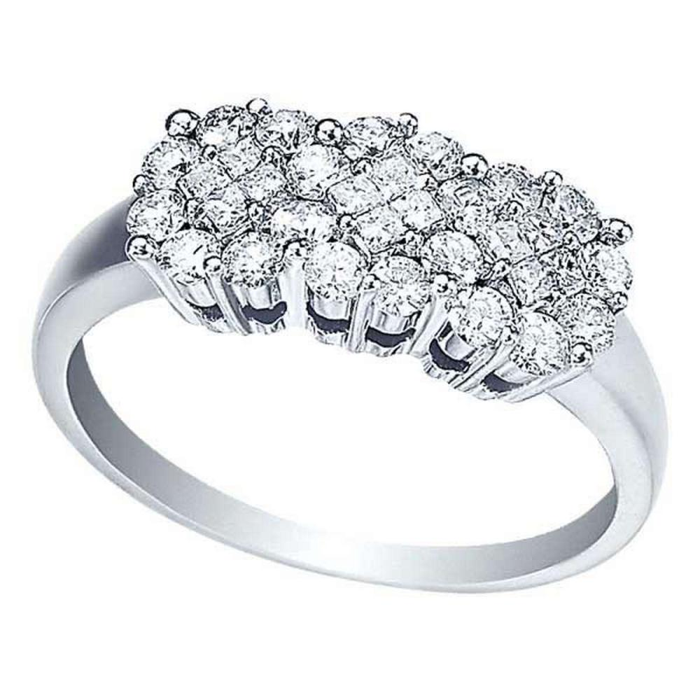 Round and Princess Cut Diamond Clusters Flower Ring 14k Gold (0.75ct) #PAPPS51910