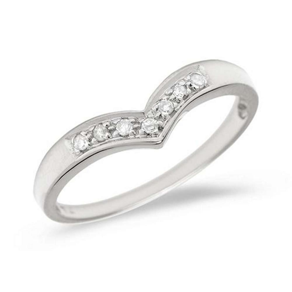 Certified 14K White Gold Diamond Chevron Ring #PAPPS50577