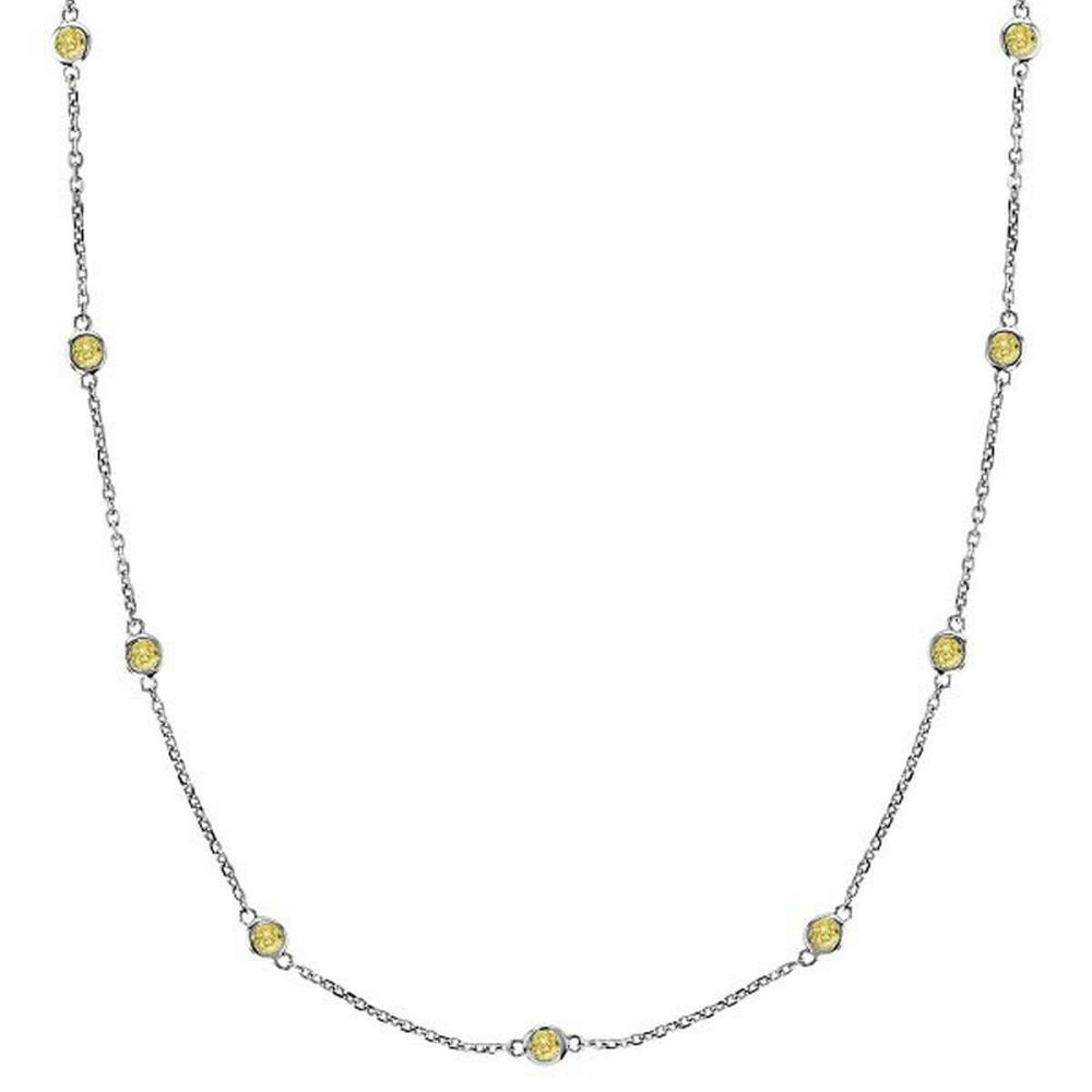 Fancy Yellow Canary Diamonds by The Yard Necklace 14k White Gold (3.00ct) #PAPPS20807