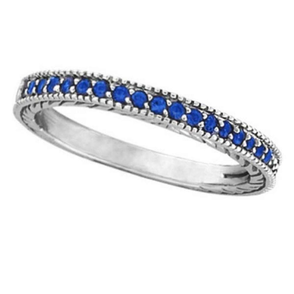 Blue Sapphire Stackable Ring With Milgrain Edges in 14k White Gold #PAPPS51596