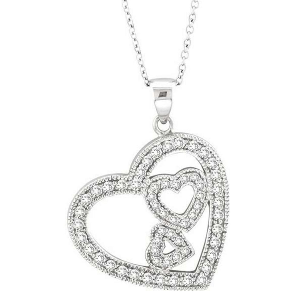 Triple Heart Diamond Pendant Necklace in 14k White Gold (0.58 ctw) #PAPPS51663