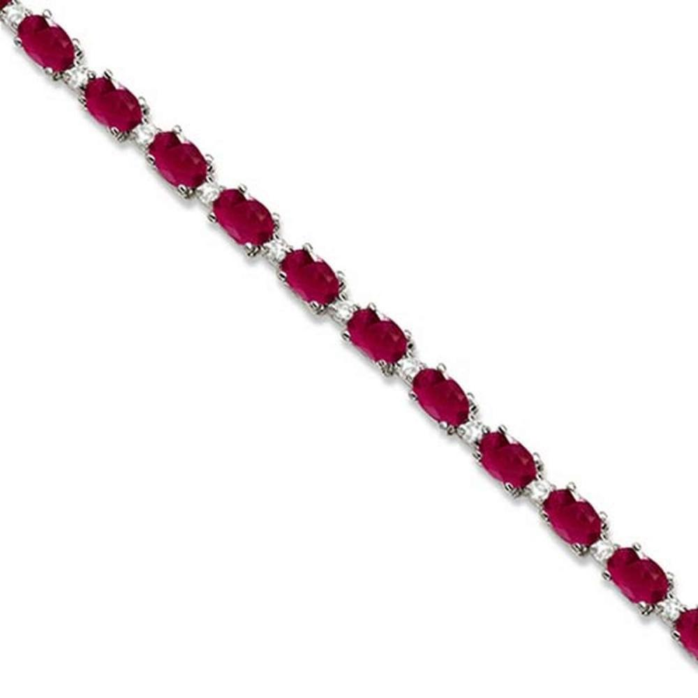 Ruby and Diamond Tennis Bracelet 14k White Gold (12.00ct) #PAPPS65717