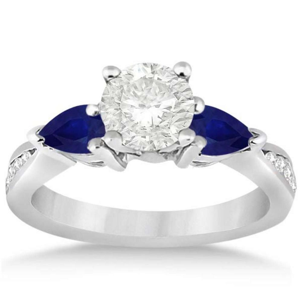 Diamond and Pear Blue Sapphire Engagement Ring 14k White Gold (1.49ct) #PAPPS20779