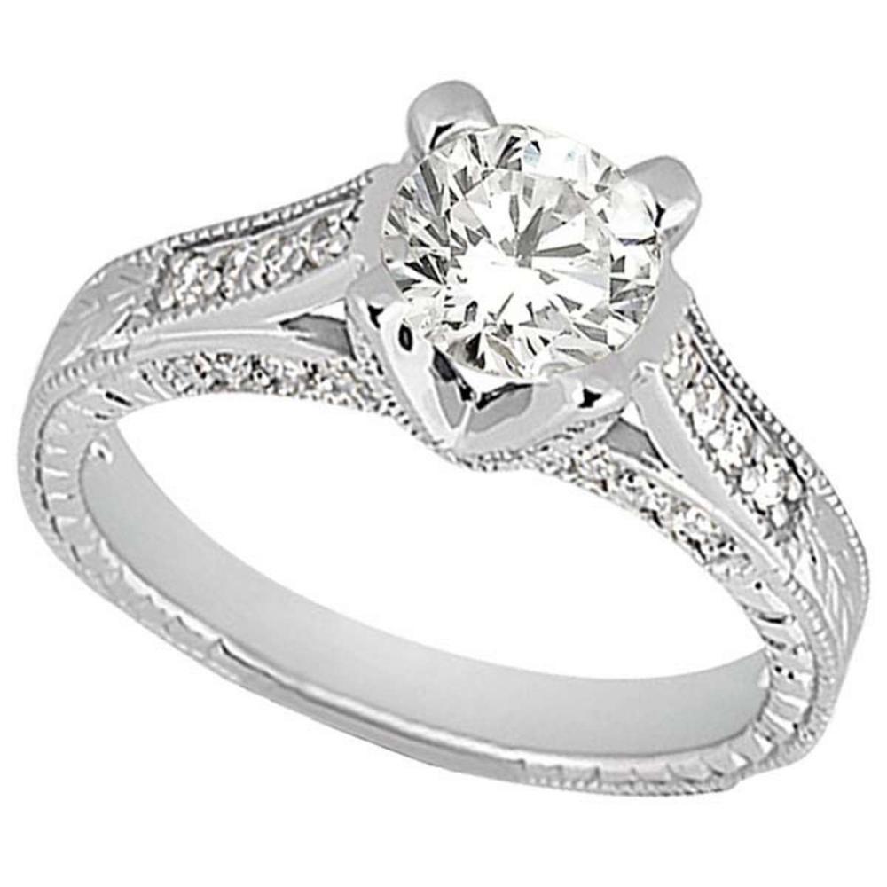 Antique Style Diamond Engagement Ring Platinum (1.40ct) #PAPPS51735