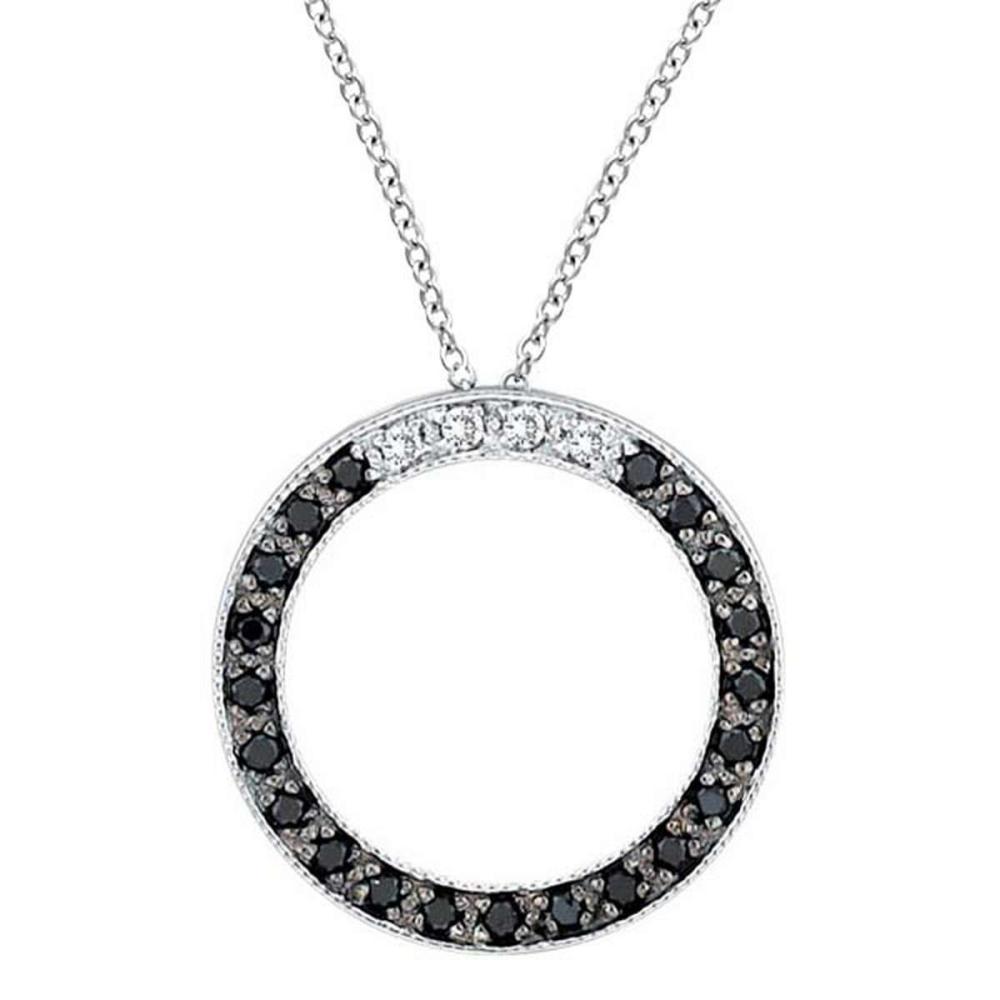 White and Black Diamond Circle Pendant 14k White Gold (0.25 ct) #PAPPS51592