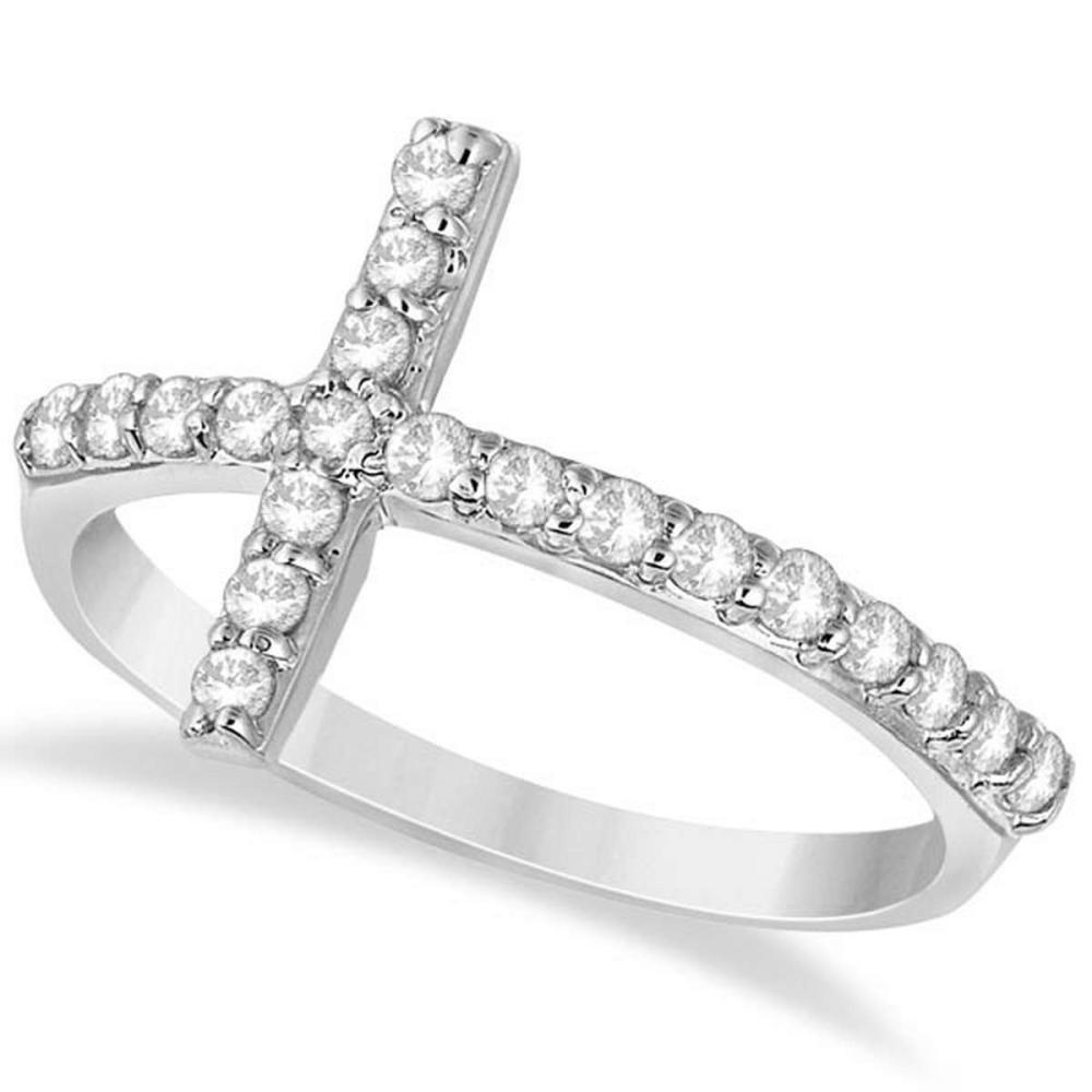 Modern Sideways Diamond Cross Fashion Ring in 14k White Gold (0.42ct) #PAPPS20811