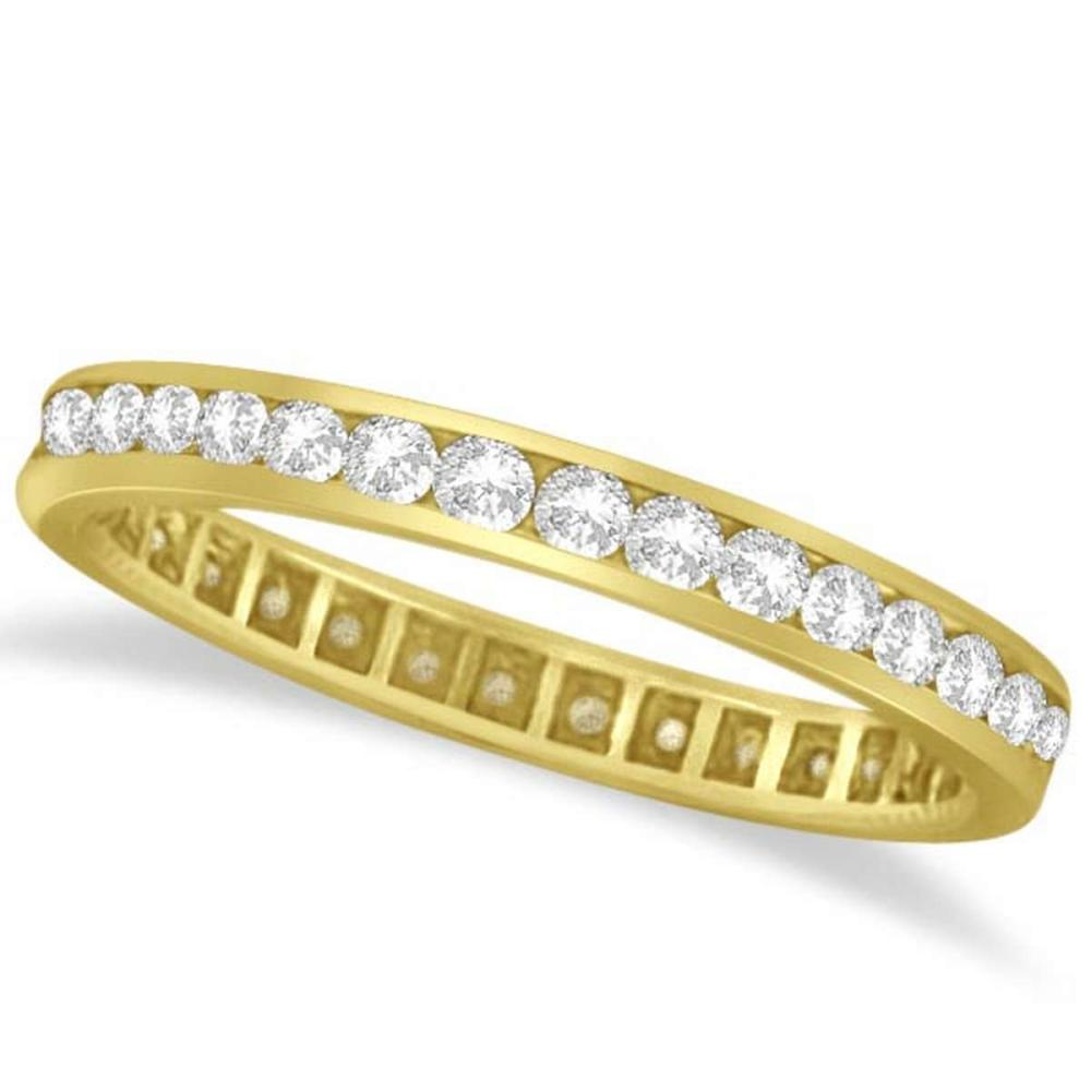 Channel Set Diamond Eternity Ring Band 14k Yellow Gold (1.00 ct) #PAPPS51940