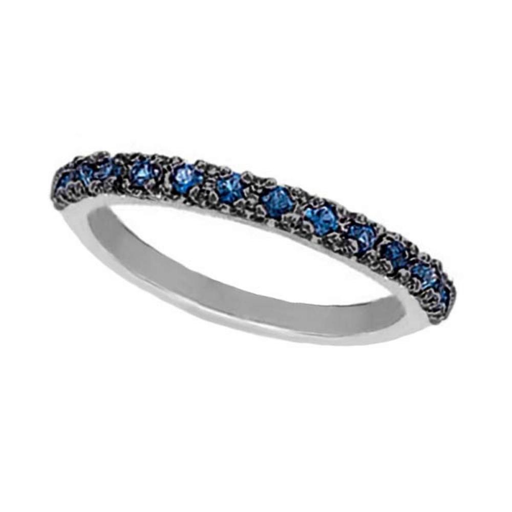 Blue Sapphire Stackable Ring with Black Rhodium in 14k White Gold #PAPPS51906
