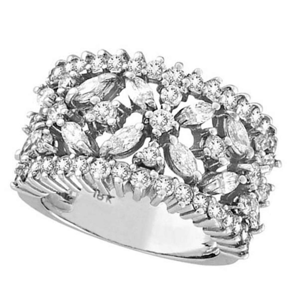 Marquise and Round Diamond Flower Ring in 18K White Gold (2.34 ctw) #PAPPS51649