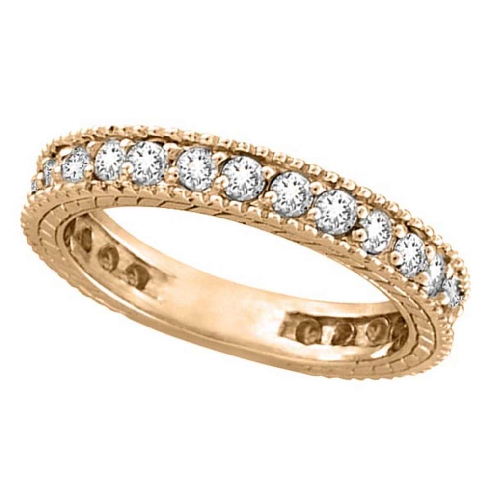 Diamond Eternity Milgrain Edged Ring Band 14k Rose Gold (1.00ct) #PAPPS51946