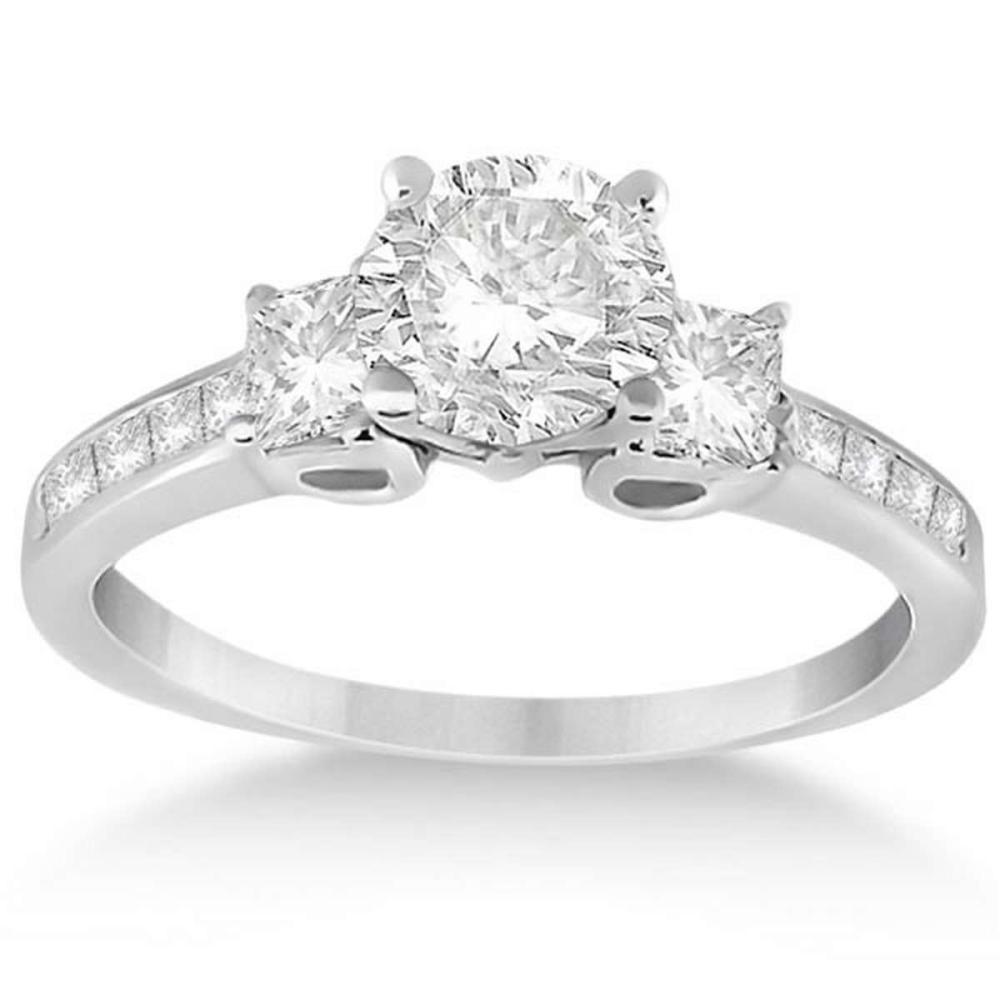 Three-Stone Princess Diamond Engagement Ring 18k White Gold (1.89 ct) #PAPPS51718