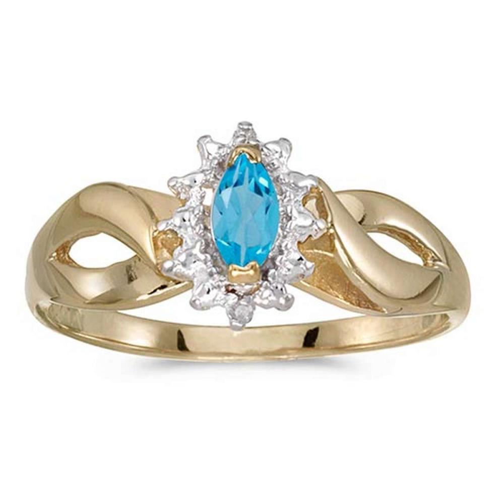 Certified 10k Yellow Gold Marquise Blue Topaz And Diamond Ring #PAPPS50566