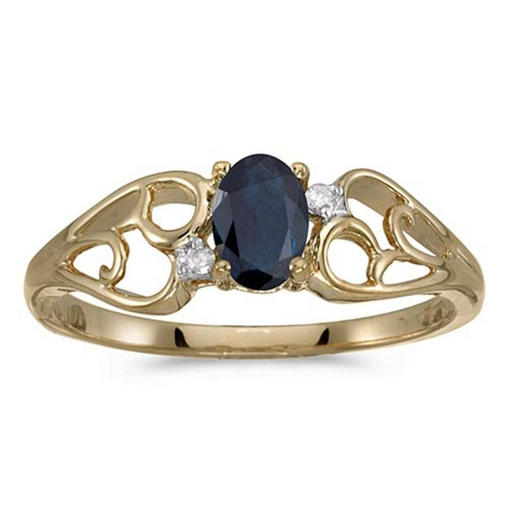 Certified 10k Yellow Gold Oval Sapphire And Diamond Ring #PAPPS50544