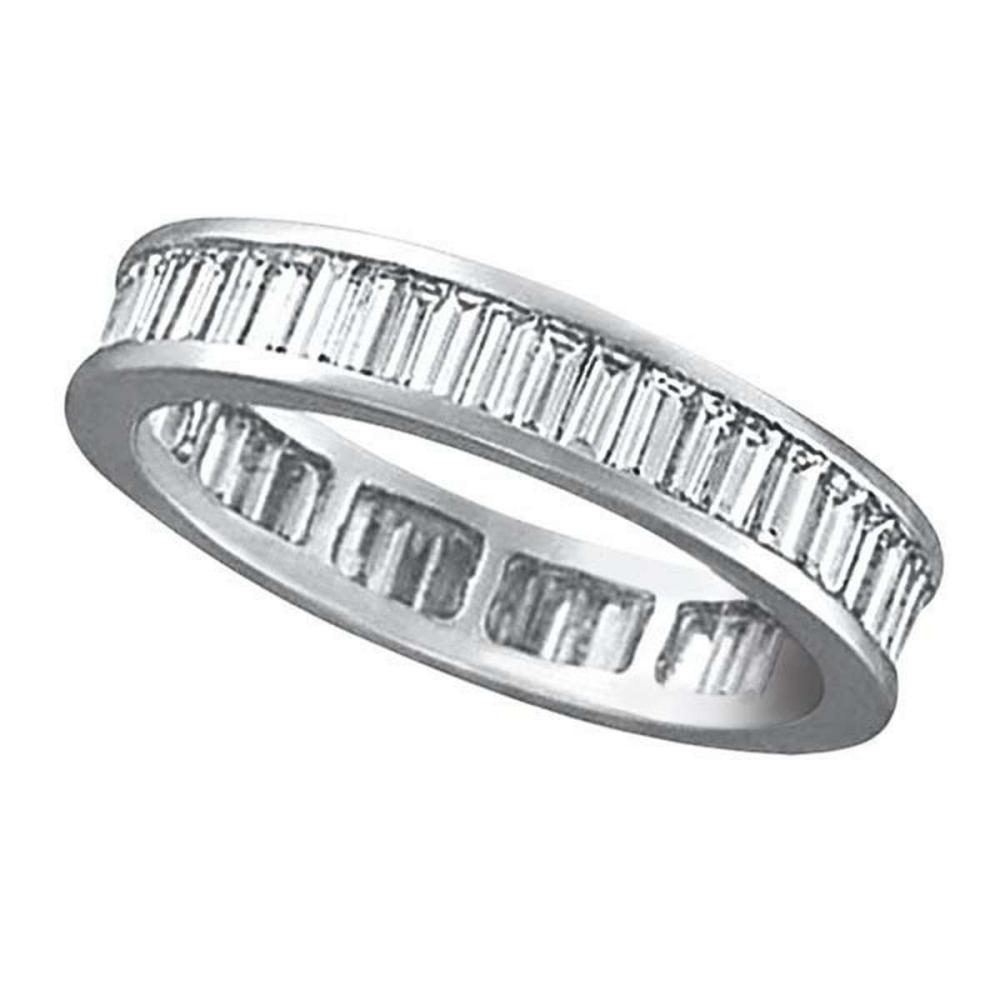 Baguette Diamond Eternity Ring Band 18k White Gold (2.10ct) #PAPPS51938