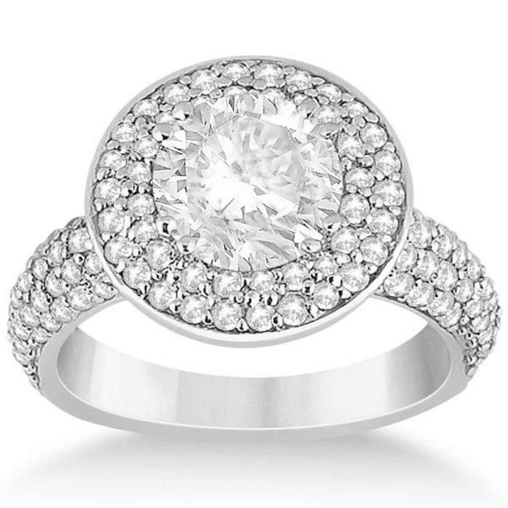 Pave Diamond Double Halo Engagement Ring 18k White Gold (1.59ct) #PAPPS21119