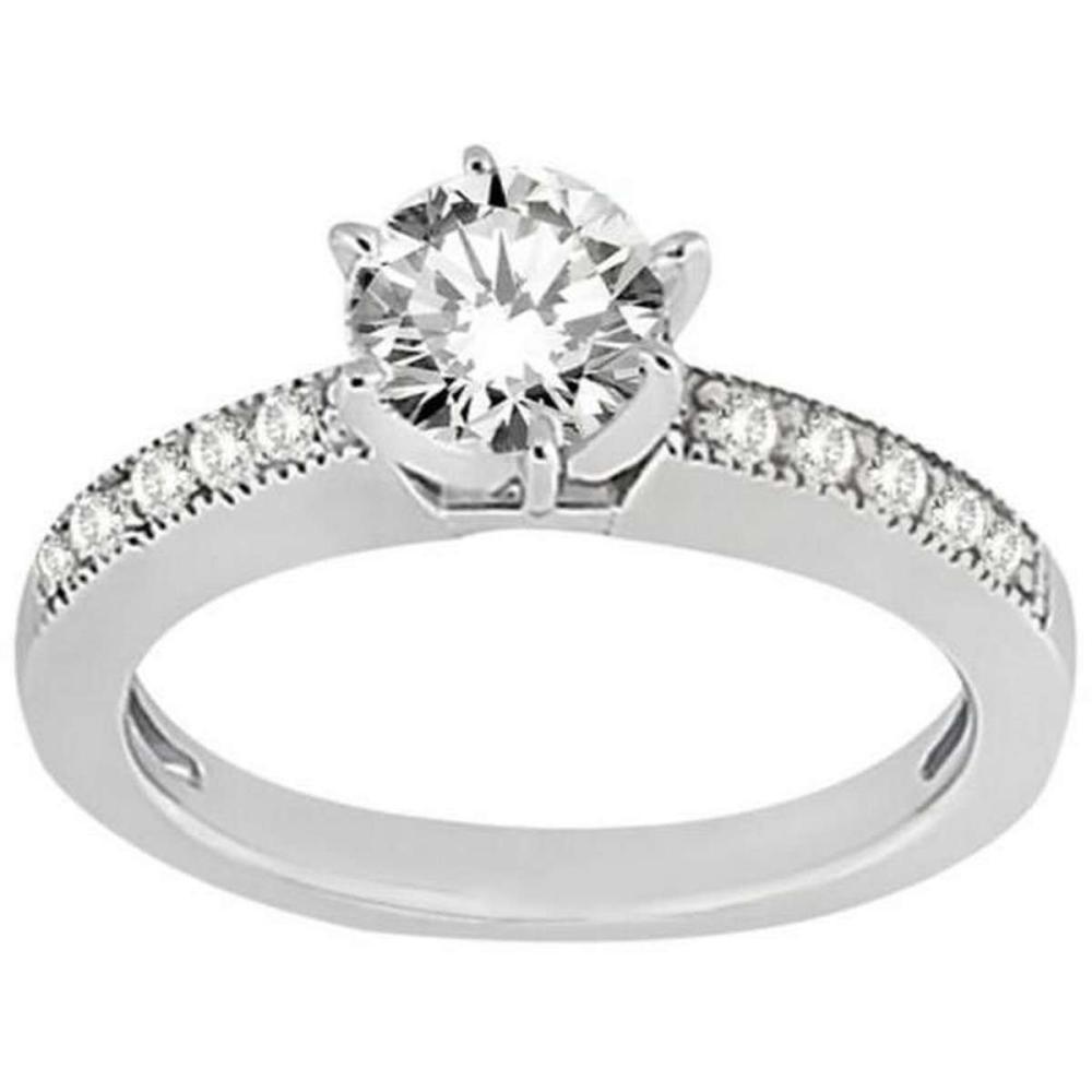 Milgrain Pave-Set Diamond Engagement Ring in Palladium (0.24 ctw) #PAPPS51753