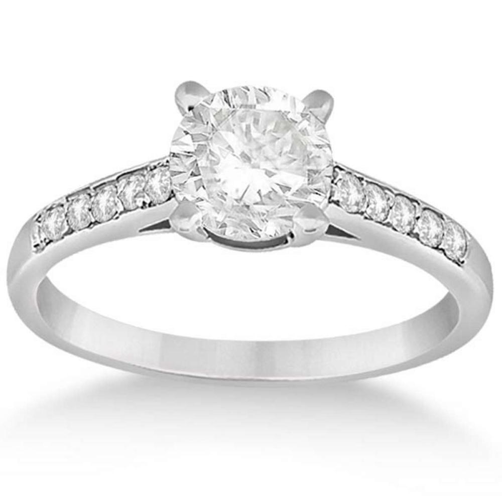 Cathedral Pave Diamond Engagement Ring 18k White Gold (0.90ct) #PAPPS51725