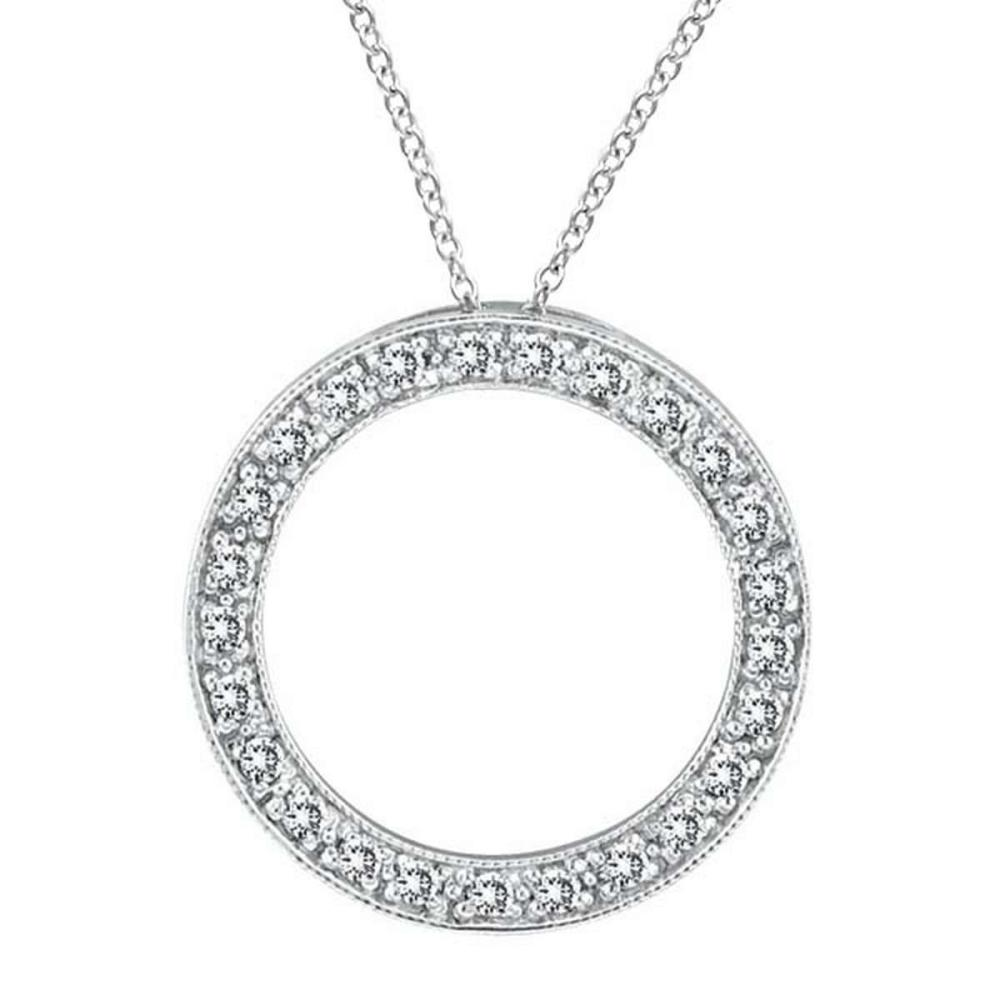 Diamond Circle Pendant Necklace in 14k White Gold (0.53 ctw) #PAPPS51594