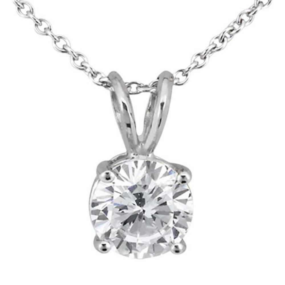 0.50ct. Round Diamond Solitaire Pendant in 18k White Gold (I SI2-SI3) #PAPPS51815