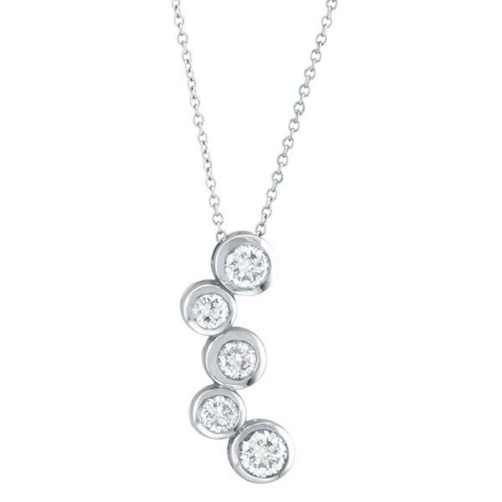 Bezel Set Five-Stone Diamond Pendant in 14k White Gold (1.10ctw) #PAPPS51590