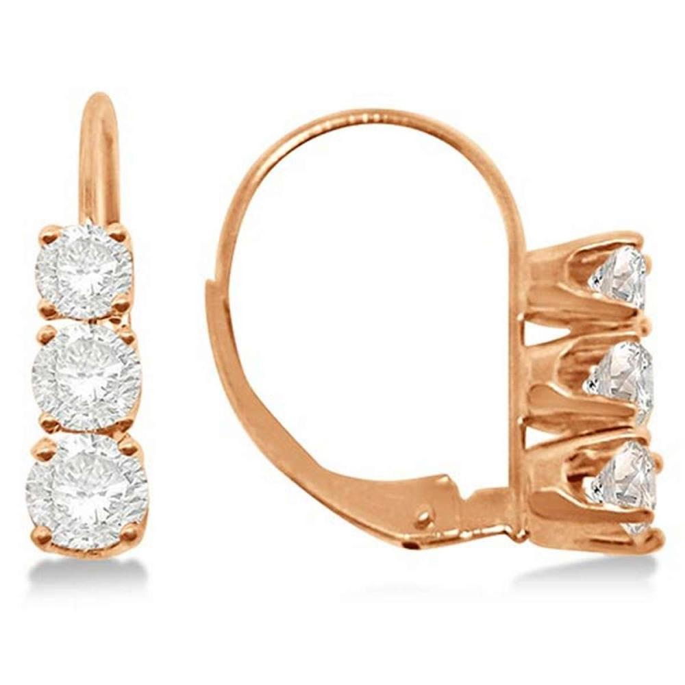 Three-Stone Leverback Diamond Earrings 14k Rose Gold (1.00ct) #PAPPS65622