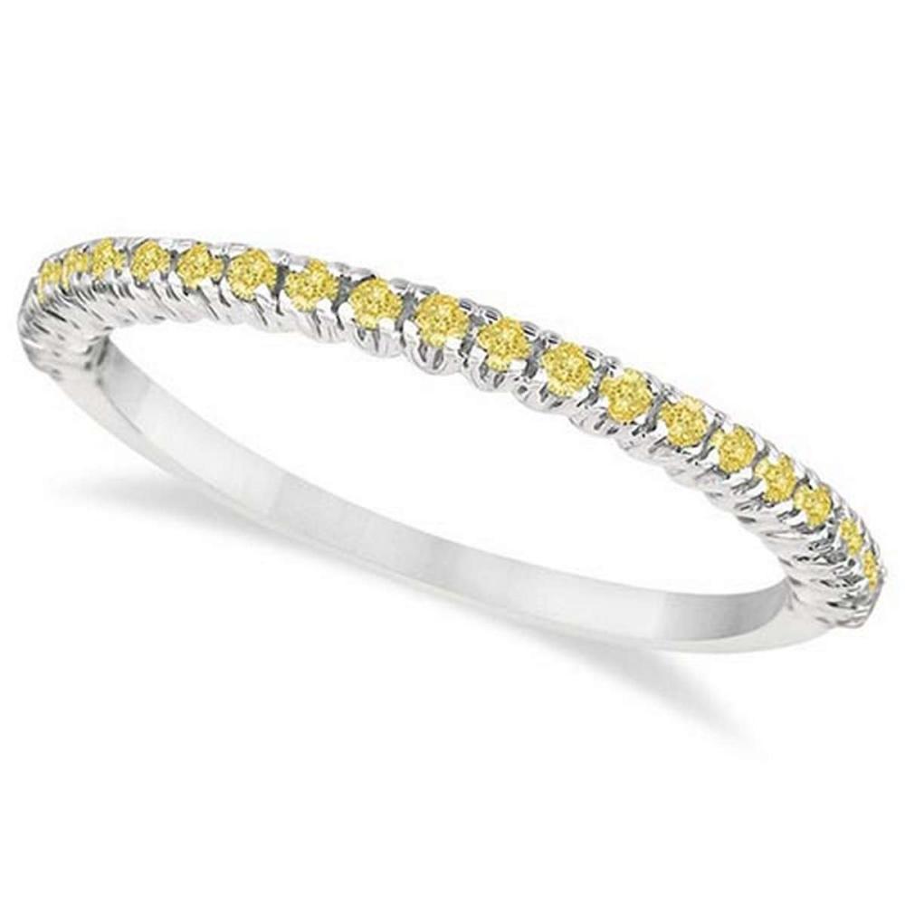 Half-Eternity Pave-Set Yellow Diamond Stacking Ring Palladium (0.25ct) #PAPPS65925
