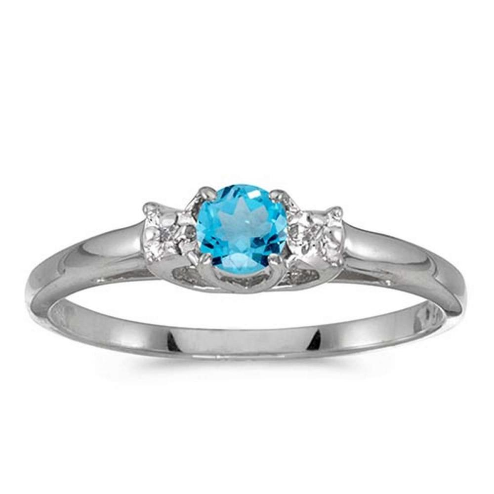 Certified 14k White Gold Round Blue Topaz And Diamond Ring #PAPPS50591