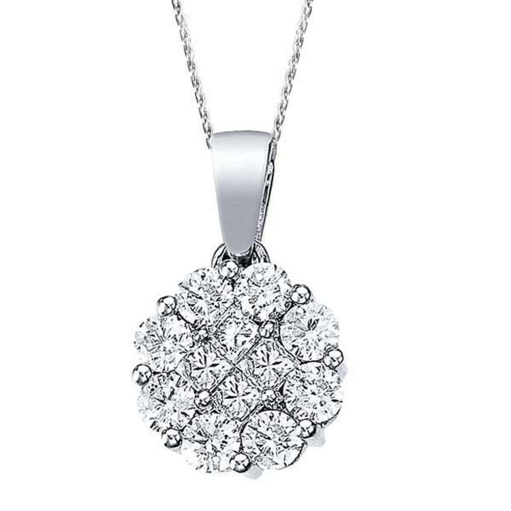 1.00 ct Diamond Clusters Flower Pendant Necklace in 14k White Gold #PAPPS51923