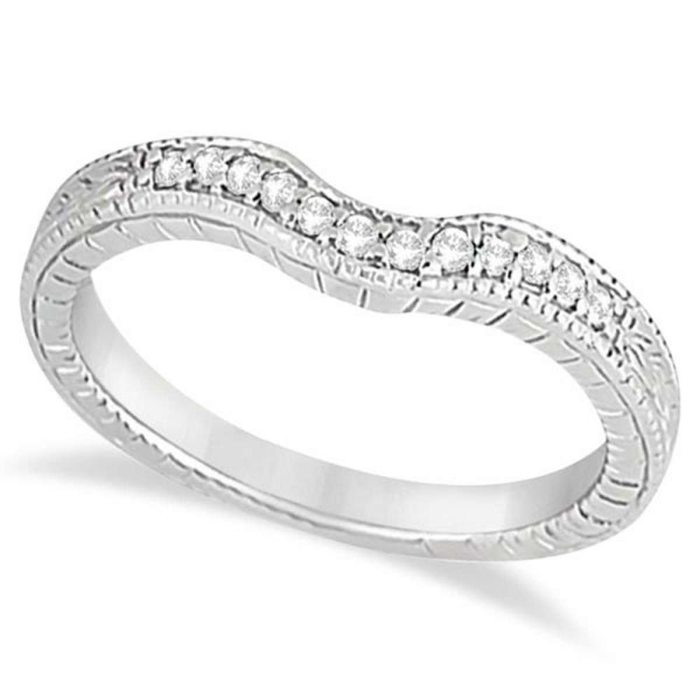 Antique Style Pave-Set Diamond Wedding Band 14k White Gold (0.12 ctw) #PAPPS51737